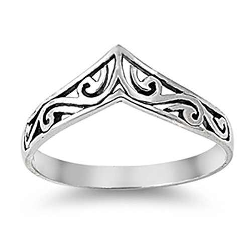 Sterling Silver Women's Filigree Thumb Chevron Ring (Sizes 4-10) (Ring Size 9) (Thumb Rings compare prices)