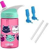 CamelBak Eddy Kids Water Bottle, Meow, 0.4 L with Bottle Accessory 2 Bite Valves/2 Straws (Color: Meow)