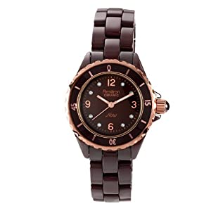 Armitron Women's 75/3920RGBN Brown Ceramic Rosegold-Tone Crystal Accented Bracelet Watch