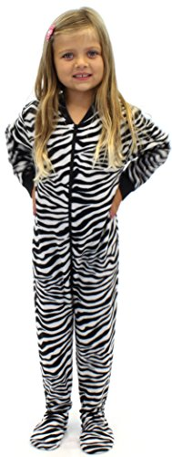 Pajammania Kids Footed Pajamas (Zebra, 6) back-1014194