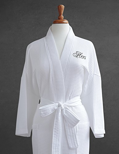 Luxor Linens Egyptian Cotton Hers Waffle Weave Robe - Perfect Wedding Gift! - Hers