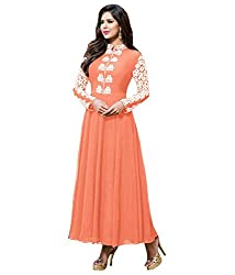 Fashion Fire Women's Orange Embroidered Georgette Unstitched Dress Material