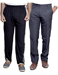 Indistar Mens Formal Trousers With Men's Premium Cotton Lower (Length Size -40) With 1 Zipper Pocket And 1 Open Pocket (Pack Of -1 Lower With 1 Trouser) - B01GEINJN6