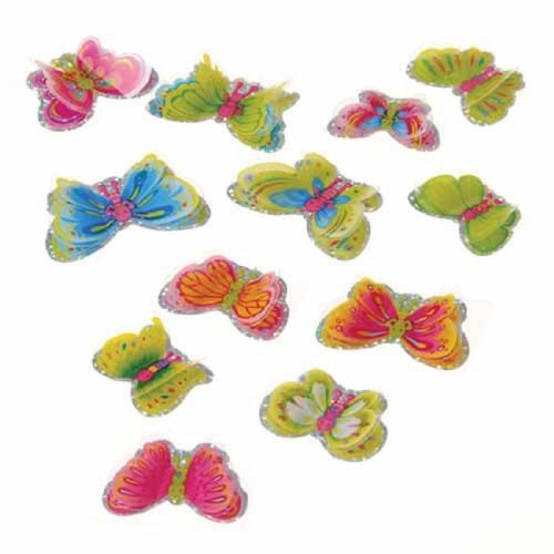 Set Of 72 3D Mylar Assorted Butterfly Stickers - 1