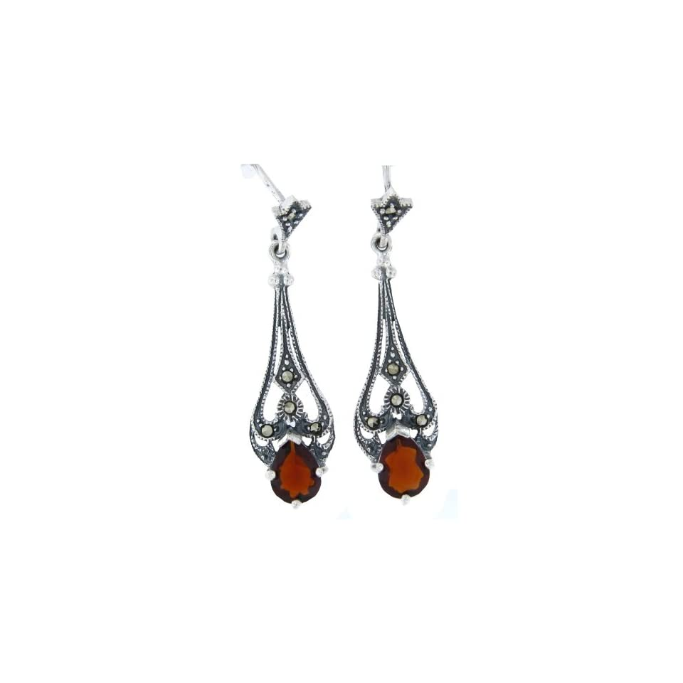 Victorian Teardrop Red CZ & Marcasite Sterling Silver Dangle Earrings   New Marcasite & Teardrop Garnet Jewelry