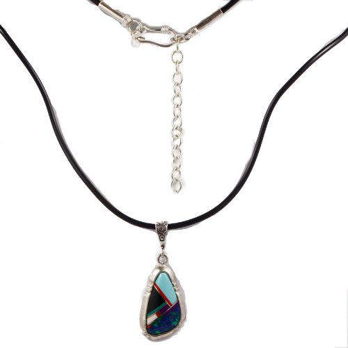 Sterling silver reconstituted Azurite, black onyx and malachite inlaid pendant necklace with 18