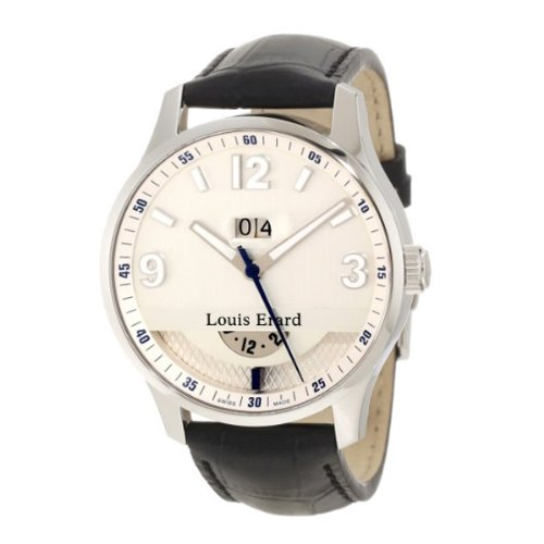 Louis Erard Men's 82224AA01.BDC51 1931 Automatic GMT Luminous Silver Dial Black Leather Watch