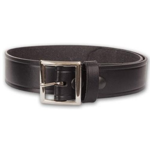 "HWC POLICE Security BLACK LEATHER 1-3/4"" GARRISON UNIFORM DUTY BELT WITH NICKEL PLATED BUCKLE MADE IN USA FULL GRAIN COWHIDE SIZE 42"""