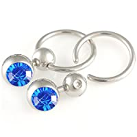 14g 14 gauge (1.6mm), 13mm long - 316L Surgical Stainless Steel eyebrow lip nipple bars ear rings earring closure ring bcr captive bead bar with 8mm ball Swarovski Crystal Sapphire - Pierced Body Piercing Jewelry Jewellery - Set of 2 ACKS from bodyjewelle