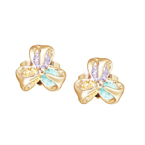 [Carat Lover Diamante 18k Rose Gold Plated Stud Earrings (blue)] (Big Bird Male Costumes)
