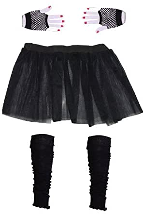 Girls 3 Layer Tutu set with Leg Warmers & Fishnet Gloves Age 4 to 12 (4, Black)