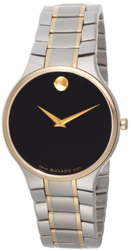 Movado Men's 0606388 Serio Two-Tone Stainless-Steel Black Round Dial Watch