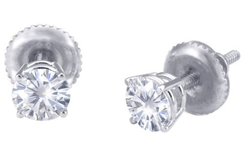 Spectacular! 18k White-gold Pair 4.00mm each (1/2 CT TW) Round Moissanite Stud Earings by Vicky K Designs