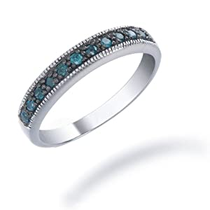 1/4 CT Blue Diamond Ring in Sterling Silver with Black Rhodium Plating (Available in Sizes 5 - 9) by FineDiamonds9