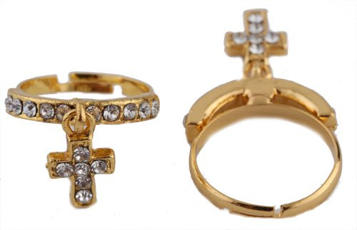 Ladies Gold with Clear Iced Out Dangle Cross Adjustable Finger Ring