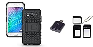 Micomy Kick Stand Shock Proof Case for Samsung Galaxy On5 -Black with 1 OTG Card Reader, 1Sim Adapter Combo