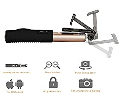Selfie Stick with Bluetooth Built-in Remote Shutter & Zoom in-out button, Monopod Extendable for Android and iOS Smartphone,iPhone,Camera,Gopro -Gold