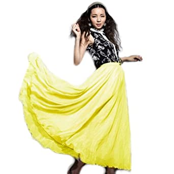 Zehui Womens Full Circle Chiffon Long Maxi Skirt Pleated Long Dress Boho Yellow