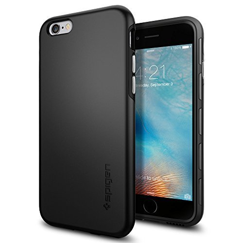 【Spigen】iPhone6s ケース / iPhone6 ケース シン・フィット ハイブリッド [ 落下 衝撃 吸収 ] アイフォン6s / 6 用 (ブラック SGP11730)