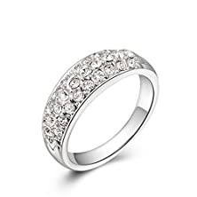buy Authentic Austrian Crystal Mosaic Three Rows Of Diamond Plating Platinum Ring