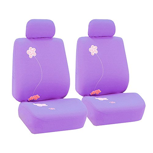 FH Group FB053PURPLE102 Seat Cover (Flower Embroidery Airbag Compatible (Set of 2) Purple) (Dodge W250 Seat Cover compare prices)