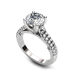 1.75 ct Round Cut Diamond Engagement Ring VVS1 / D 14k White Gold by The Diamond Exchange
