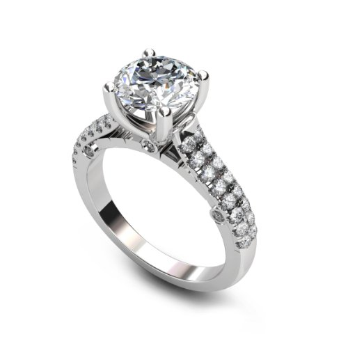 Sale 1.75 ct Round Cut Diamond Engagement Ring VVS1 / D 18k White Gold