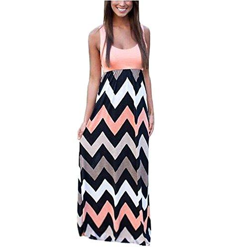 Yidarton Womens Wave Striped Summer Beach Dress Party Long Maxi Dresses Pink Large