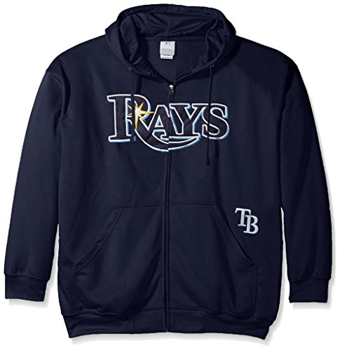 Tampa Bay Rays MLB Majestic Mens Full Zip Time Delay Hoodie Navy Blue Big & Tall Sizes (XLT)