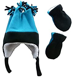 N\'ice Caps Girls 4 Corner Sherpa Lined Fleece Hat and Mitten Set (6-18mo, Infant - Black/Turq)