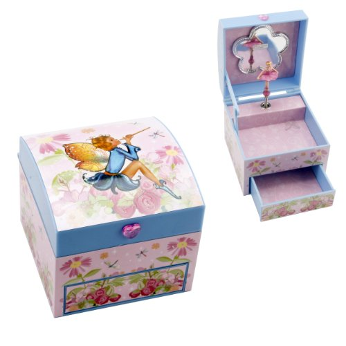 Musical Girls Fairy Jewellery Box Pink Chest Drawer Brand New
