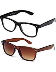 Sheomy Unisex Combo Pack Of Transparent Wayfarer Sunglasses And Brown Wayfarer Sunglasses For Men And Women With...