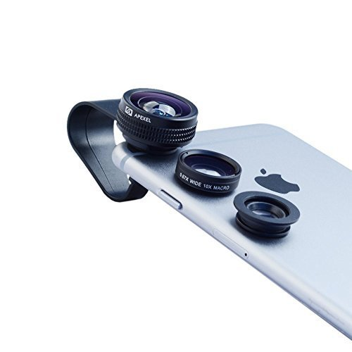 Apexel 3 in 1 Clip-on 180 Degree Full Screen Fisheye +0.67x Wide Angle + 10x Macro Lens for iPhone 6/ 6Plus, iPhone 5/5S/5C/4 Samsung HTC Sony LG (No Dark Circle by the Fisheye Lens)