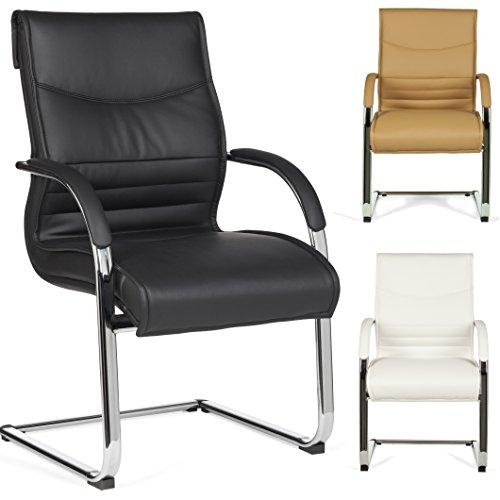 FineBuy-Freischwinger-MILAN-Besucherstuhl-Bezug-Leder-Optik-Schwarz-Schwingstuhl-Visitor-X-XL-Chrom-120-kg-Meetingstuhl-ergonomisch-Design-ergo-Kippschutz-Konferenzstuhl-Wartestuhl-feststehend