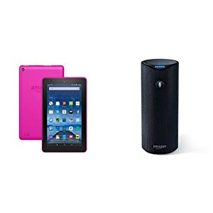 """Fire Tablet, 7"""" Display, Wi-Fi, 8 GB - Includes Special Offers, Tangerine and Amazon Tap - Alexa-Enabled Portable Bluetooth Speaker"""