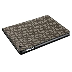 For the New Ipad 3 Pu Leather Jigsaw Puzzle Pattern Stand Smart Folio Cover Brown