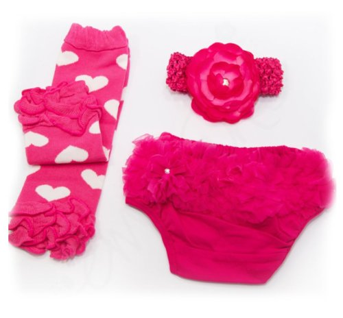 Ema Jane Ruffled Woven Baby Diaper Bloomer Covers Choose From Many Colors or Styles 3 to 18 Months 3 Months to 18 Months Fuchsia Hearts Ruffle Set