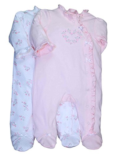 Little Me Baby-Girls Newborn Rosebud 2 Pack Footie, White/Pink, 9 Months front-917669