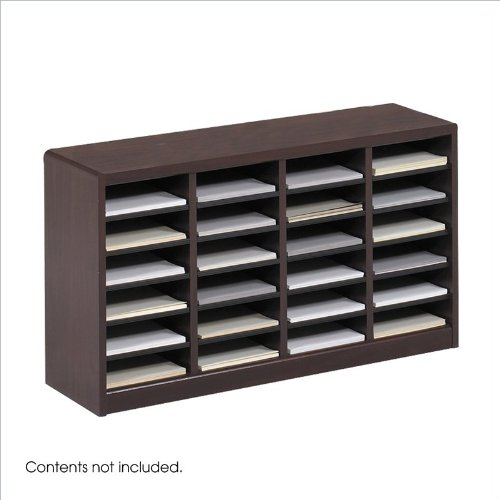 Safco Products E-Z Stor Wood Literature Organizer, 24 Compartments, Mahogany, 9311Mh front-895753