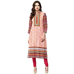 Luck In Women's Cotton Straight Kurti (LIN105OR_Orange_L)