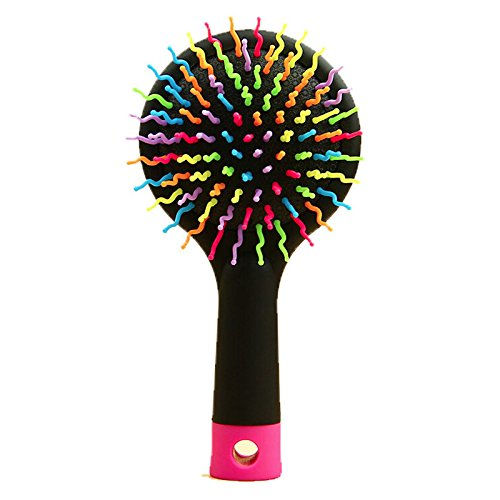 Hot Rainbow Detangling Hair Care Styling Hair Brush Comb Teezer Massage Tangle HairBrush Combs Hairdresser Wet Dry Brush Mirror (Black)
