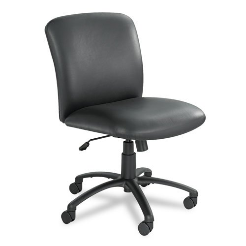 Safco Products 3491BV Uber Big and Tall Mid Back Chair (Optional arms sold separately) , Black Vinyl Optional Fixed Arms