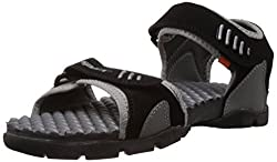 Sparx Mens Black and Grey Sandals and Floaters - 8 UK