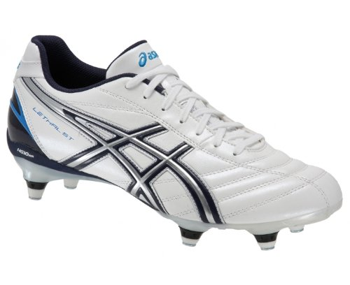 ASICS Lethal DS 3 ST Men's Rugby Boot, White/Navy, UK7.5