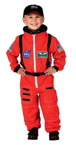 Jr. Astronaut Suit with Embroidered Cap, size 6/8 (orange)