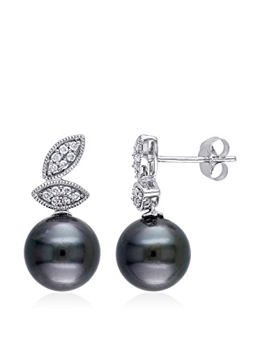 Michiko 10K White Gold, Diamond & 8-8.5 mm Tahitian Pearl Drop Earrings