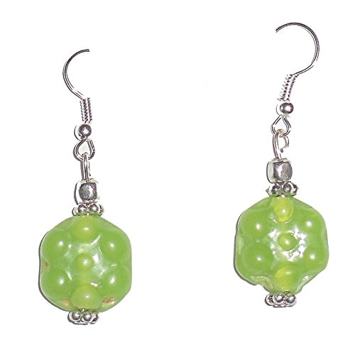 Beadworks Beadworks Glass, Metal & Silver Dangle & Drop Earring For Women -Green