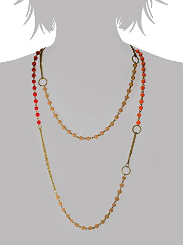 Fashion Fashion Infinite Long Glass Beads & Chain Necklace For Women (Silver)