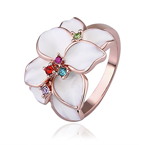 Flower Engagement Ring Colorful Rhinestone Inlay Rose-Gold-Plated Wedding Ring - Lacey D. Coleman (Fire Pit Coleman compare prices)