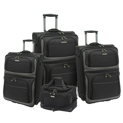 Travelers Choice Luggage Lightweight 4-Piece Luggage Set, Black, Large